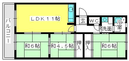 筑紫ビル / 303号室間取り
