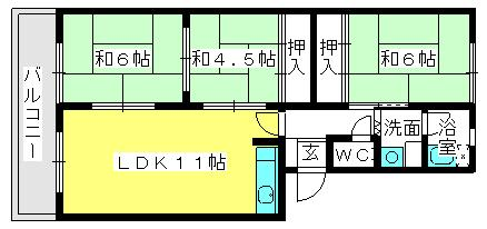筑紫ビル / 305号室間取り