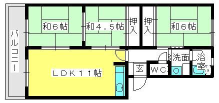筑紫ビル / 405号室間取り
