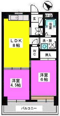 Amenity丸善 / 502号室間取り