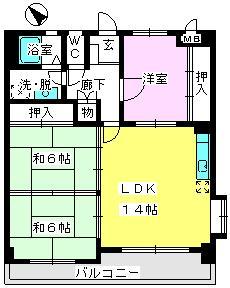 サン・ビィーム吉塚 / 201号室間取り