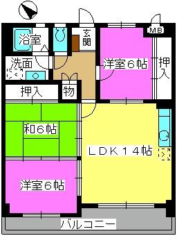 サン・ビィーム吉塚 / 301号室間取り