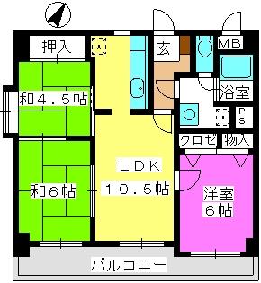 ハイ・コート(ペット可) / 201号室間取り