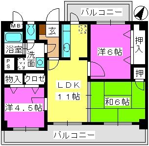 ハイ・コート(ペット可) / 203号室間取り