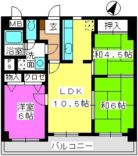 ハイ・コート(ペット可) / 402号室間取り