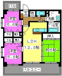 リバーランド箱崎Ⅴ / 201号室間取り