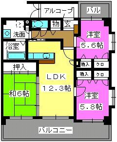 リバーランド箱崎Ⅴ / 206号室間取り