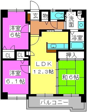 マノワール箱崎 / 302号室間取り