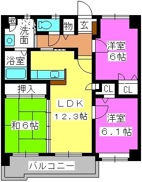 マノワール箱崎 / 303号室間取り