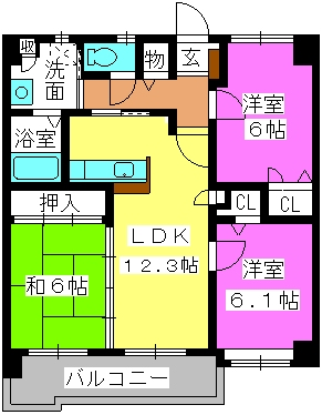 マノワール箱崎 / 703号室間取り
