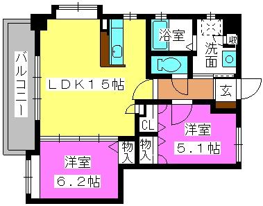 マノワール箱崎 / 706号室間取り