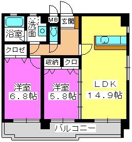 ラフィーネ・箱崎 / 401号室間取り