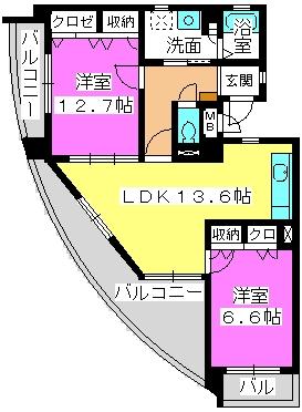 ラフィーネ・箱崎 / 402号室間取り