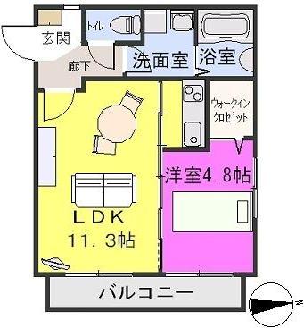 ステラ箱崎611 / 101号室間取り