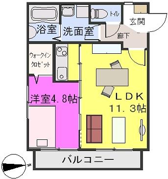 ステラ箱崎611 / 102号室間取り