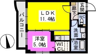 テゾーロカーザ / 201号室間取り