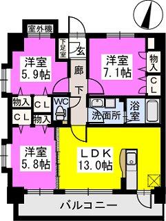 筥松なつめビル / 603号室間取り