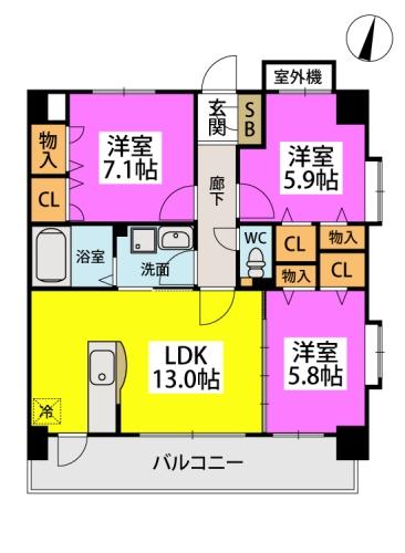 筥松なつめビル / 701号室間取り