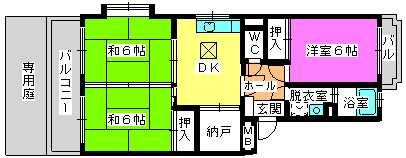 レジデンス牛房(ペット可) / 101号室間取り