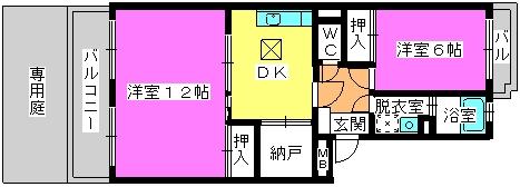 レジデンス牛房(ペット可) / 103号室間取り