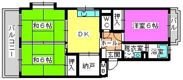 レジデンス牛房(ペット可) / 205号室間取り
