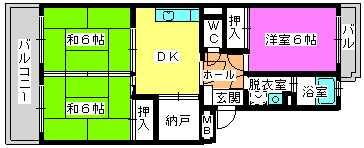 レジデンス牛房(ペット可) / 302号室間取り