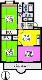 Flower'24 / 206号室間取り