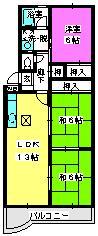 エクセル篠栗 / 102号室間取り