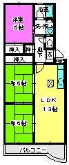エクセル篠栗 / 106号室間取り