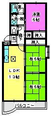 エクセル篠栗 / 107号室間取り