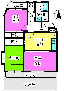 サンハイツKUDO / 101号室間取り