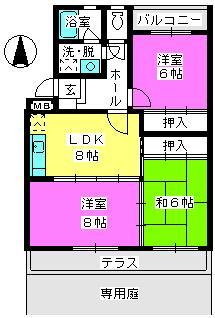 サンハイツKUDO / 102号室間取り