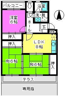 サンハイツKUDO / 103号室間取り
