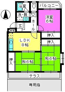 サンハイツKUDO / 105号室間取り