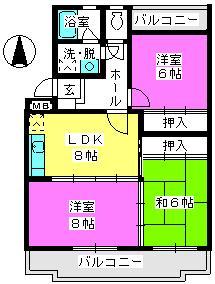 サンハイツKUDO / 402号室間取り