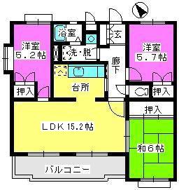 ガーデンハイツ志免 / 203号室間取り