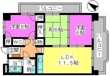 タウンコート志免 / 201号室間取り