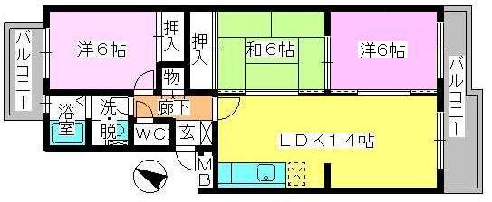 エクセルE・F / 303号室間取り