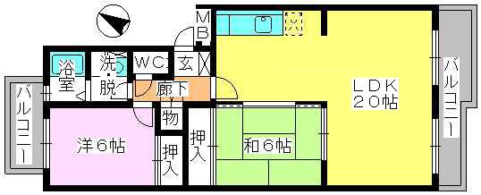 エクセルE・F / 402号室間取り