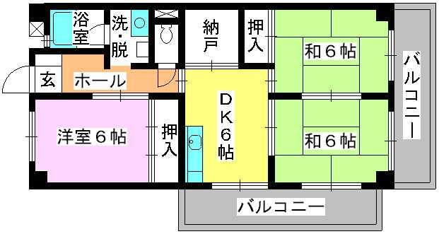 シティハイツ篠栗 / 305号室間取り