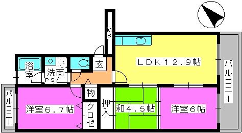 リバーサイド貝田 / 203号室間取り