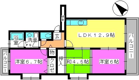 リバーサイド貝田 / 401号室間取り