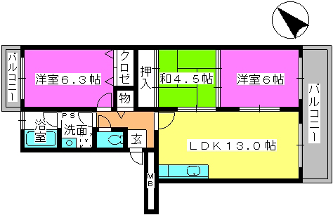 リバーサイド貝田 / 402号室間取り