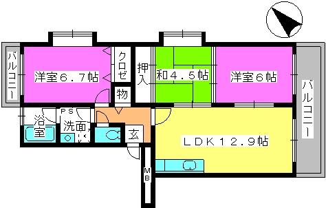 リバーサイド貝田 / 405号室間取り