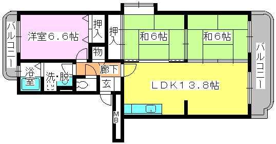 サンシャイン篠栗 / 2-201号室間取り