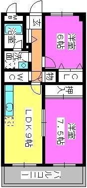ハイ・アルブル迎田 / 102号室間取り