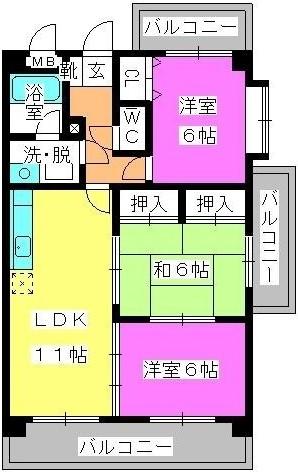 ハイ・アルブル迎田 / 203号室間取り