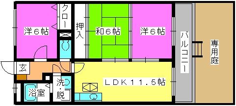 セントレージ博多 / 102号室間取り