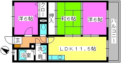 セントレージ博多 / 202号室間取り