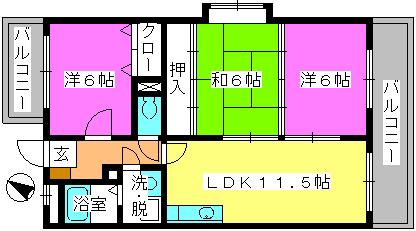 セントレージ博多 / 305号室間取り